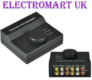 3 WAY PHONO RCA STEREO AUDIO VIDEO INPUT SELECTOR SWITCH BOX eBay