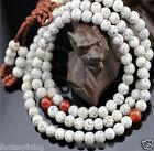 Bleached White Lotus Seeds 108 Wood Prayer Beads Buddha Japa Mala Necklace Yoga