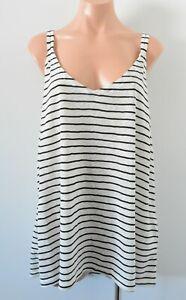 City Chic Top Size Plus Xl 22 Black White Stripe Sleeveless Cotton Camisole