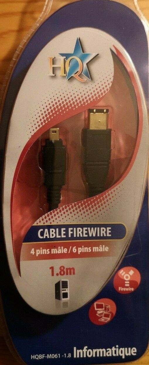 FireWire cable 1.8m 4 pin male to 6 pin male NEW HQBF-M061-1.8 HQ