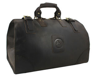 Details About Vintage Men Real Leather Travel Bag Tote Luggage Large Weekend Duffel