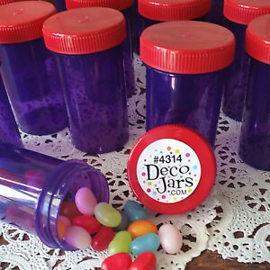 15-Purple-JARS-Plastic-Container-Red-Hat-4314-USA-Party-Favor-Candy-DecoJars