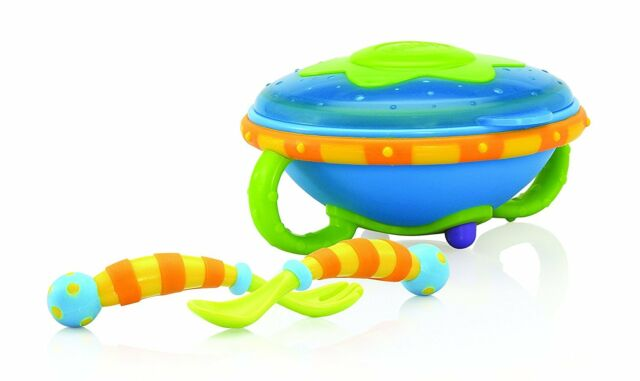 Nuby ID5324 Esslernschale with Spoon and Fork - 9M + Green-Blue