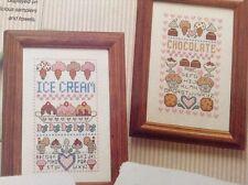 Sweet Treats counted cross stitch magazine pattern, fabric & floss lot, set of 2