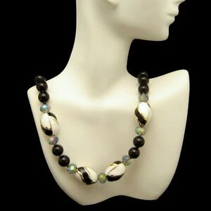 Vintage-Black-Glass-Beads-Necklace-White-Enamel-Gray-AB-Crystals-Very-Classy