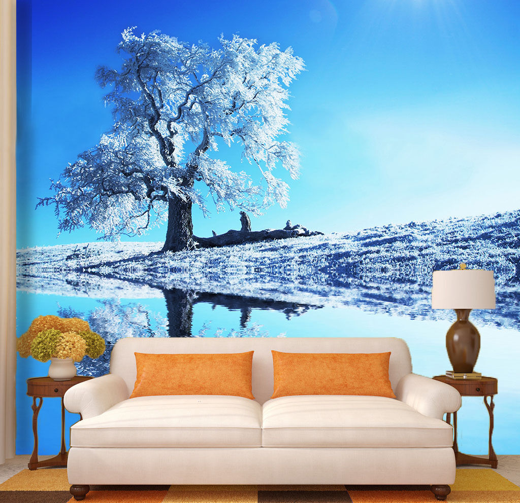 3D Sun Tree Lake Reflection Wall Paper Wall Print Decal Wall AJ WALLPAPER CA