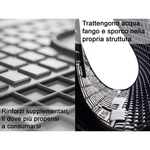 Set Tappetini Tappeti per KIA Sorento III 3 file 2015 in poi su misura in gomma