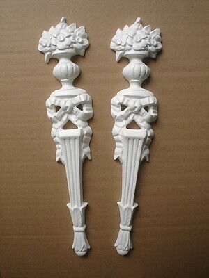ONE PAIR OF ORNATE COLUMNS DECORATIVE FURNITURE MOULDINGS WHITE RESIN