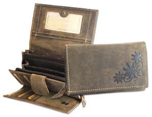 Echtleder-Damen-Geldboerse-Langboerse-Portemonnaie-mit-Praegedesign-viele-Faecher