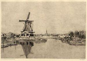 Rothschild-Hollande-Amsterdam-Buiten-Singel-Moulin-Eau-Forte-Chauvel-XIXe