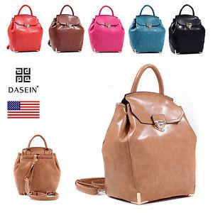 New-Women-Backpack-Faux-Leather-School-Bag-Bookbag-Purse-w-Convertible-Strap