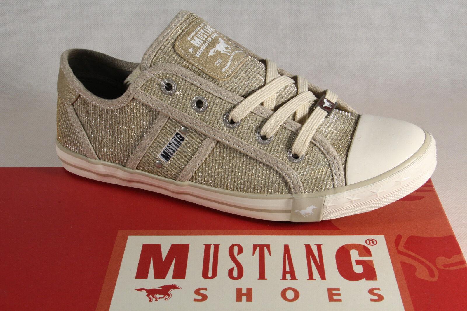 Mustang Zapatos de Cordones Zapatillas Zapatillas Zapatillas Deportivos Abotinados Beige   Plata Nuevo  el estilo clásico