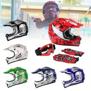 DOT-Youth-Kid-Helmet-Dirt-Bike-ATV-Motocross-Motorcycle-Full-Face-Goggles-Gloves