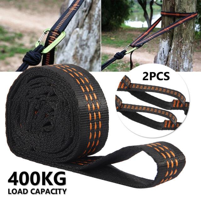 2pcs Hammock Hanging Tree Strap Heavy Duty Adjustable 10 Loop Webbed Straps