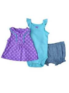 da3de5739 Image is loading Carters-Infant-Girls-Purple-Shirt-Striped-Creeper-amp-