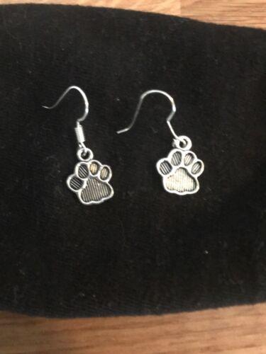 NEW 925 Sterling Silver Loop Gift Cat Dog UK SELLER DROP EARRINGS handmade