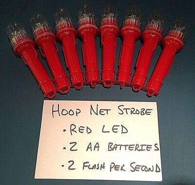 Pack of 8 FISHING STROBE LIGHT FOR LOBSTER CRAB HOOP NET RED/&WHT LED Flashing
