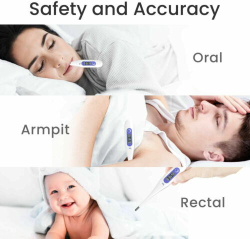 2 pcs Digital LCD Thermometer Baby Adult Body Kids Safe Ear Mouth Temperature