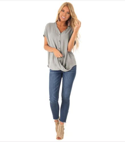 Damen V Neck Tunika Bluse Shirt Batwing Top Longshirt Fledermausärmel Oberteil