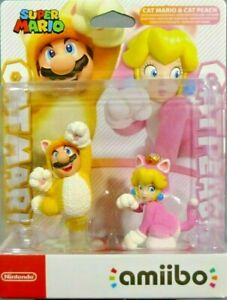 Amiibo Cat Mario And Cat Peach Double Pack - Super Mario Collection From Japan