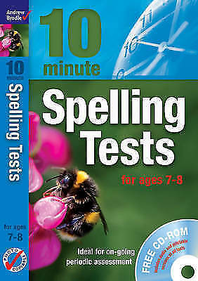 1 of 1 - NEW BOOK with CD - 10 minute SPELLING TESTS for ages 7-8  (rrp £20)