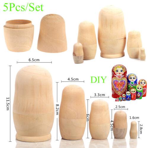 Set of 5 Russian Matryoshka Wooden Blank Nesting dolls Hand Painted Gift DIY