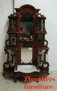 Antique-Victorian-Walnut-Marble-Top-Shelf-Display-Hutch-Etagere-Pierced-carved
