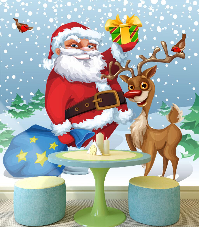 3D Weihnachten Rentier 244 Fototapeten Wandbild Bild Tapete Familie Kinder