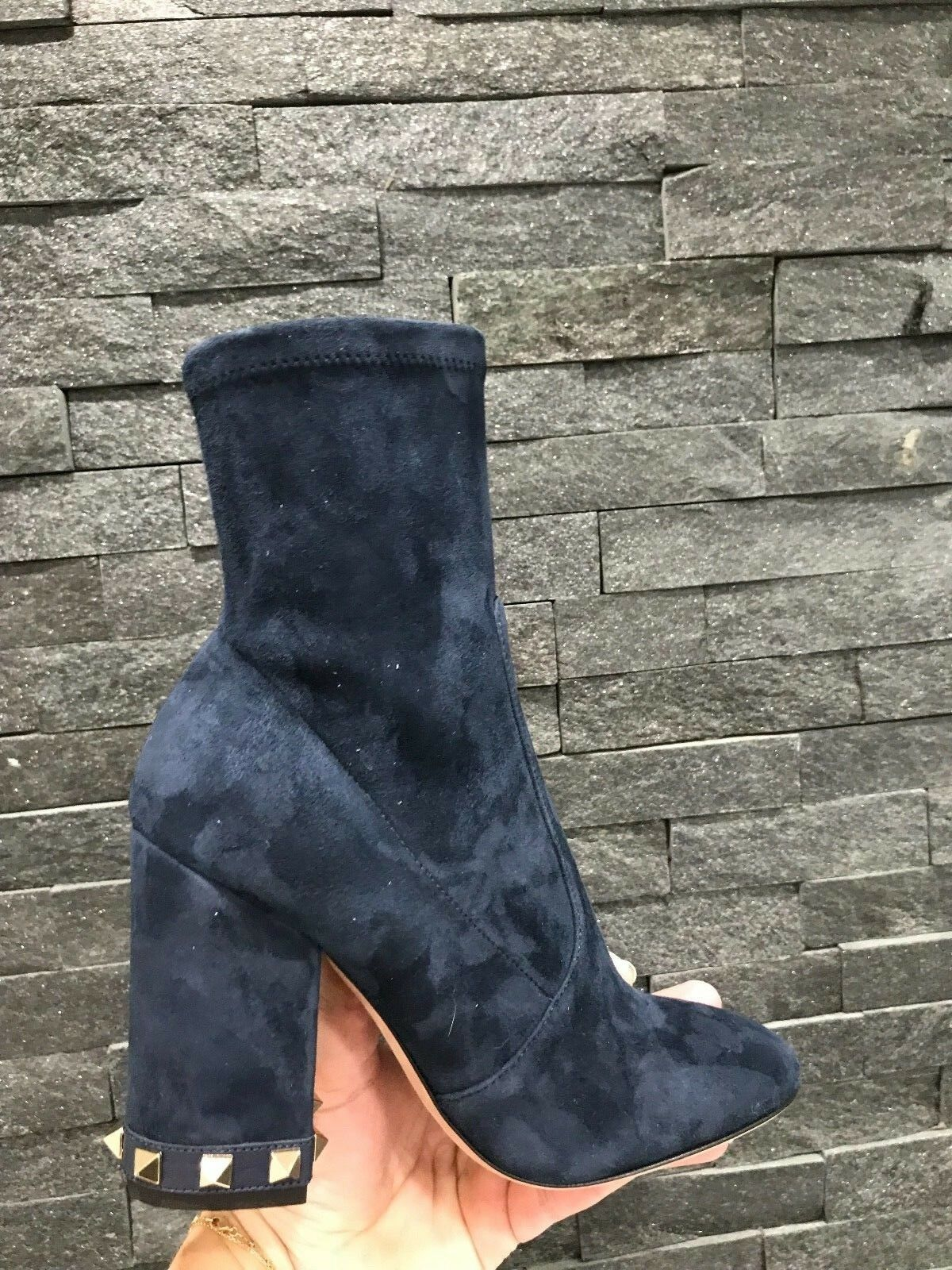 NIB Zipperot Valentino Rockstud Suede 100 Studded Zipperot NIB Navy Ankle Stiefelies 35.5  1145 1117c3
