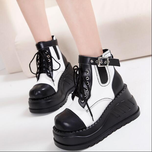 Gótico para mujer botas al tobillo con Cordones ENrojoADERA Plataforma Bloque Zapatos De Tacones Altos de montar a caballo
