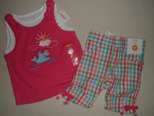 Gymboree RAINBOW CABANA Pink Seal Sun Tank Top /& Plaid Capri Pant Outfit 3 6 12
