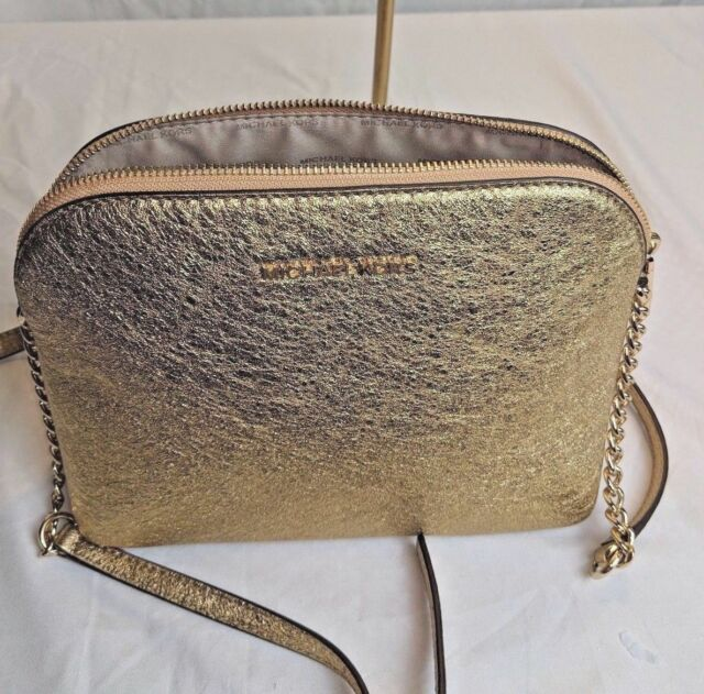 281bd30240acc Michael Kors Cindy Dome Large Metallic Leather Crossbody Gold for ...