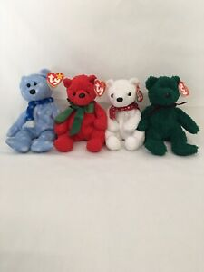 TY Beanie Baby Teddy Bear Lot 1999, 2000, 2001 HOLIODAY Bear & MISTLETOE plush