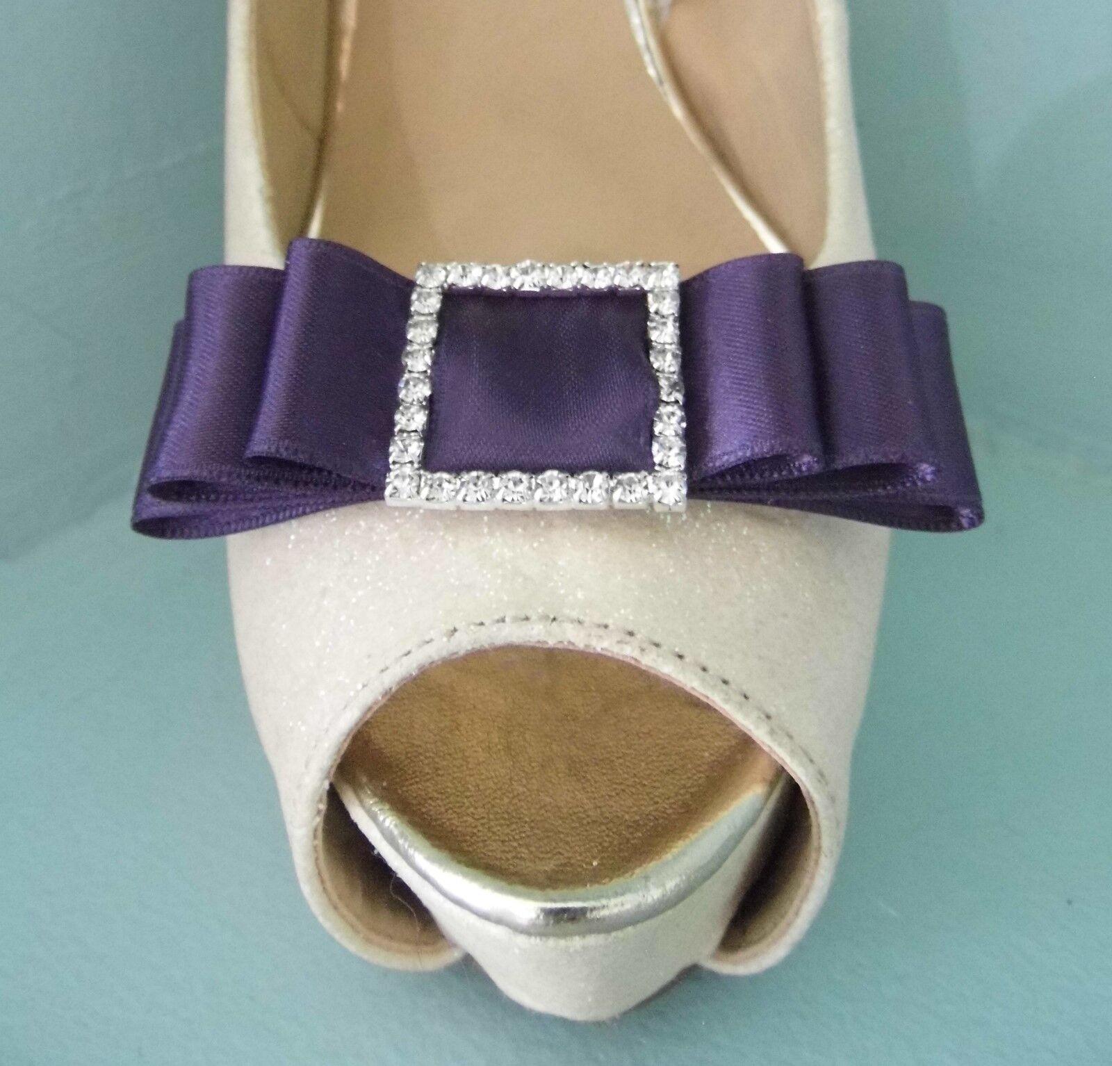 2 Handmade Plum Satin Bow Shoe Clips with Diamante Buckle Centre
