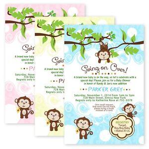 Jungle Baby Shower Invitations Swinging Monkey Adorable Custom