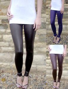 Extra Long Leggings Wet Look Black White Navy Chocolate Uk 8 28 Tall Ebay