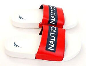 Nautica Red White Blue Slip On Slide Sandals Youth Boy's NWT