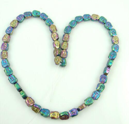 Beautiful Titanium Carved Guanyin head Hematite loose beads 15.5 inch C37