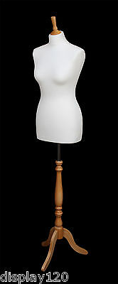 DELUXE Size 12 Female Dressmakers Dummy Mannequin Tailor CREAM Bust Beech Stand