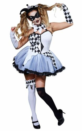 Ladies White Black Jesterella Tutu Carnival Circus Halloween Fancy Dress Costume