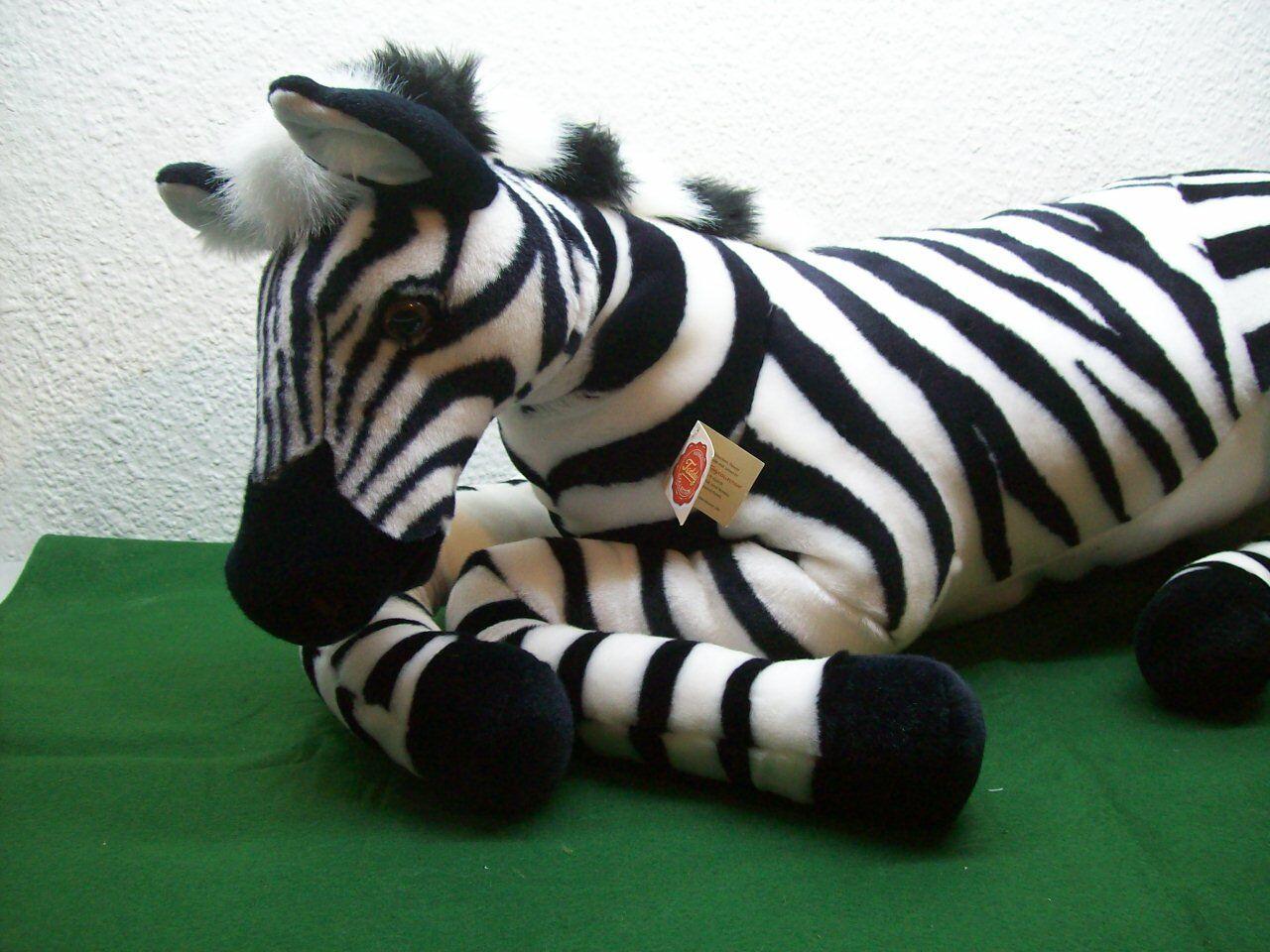 1 Zebra Teddy Hermann Studiotier 80cm liegend Plüschtier Stofftier