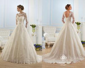 Long-Sleeve-Vintage-Lace-Wedding-Dress-Bridal-Gown-Robe-de-Mariee-Custom-Made