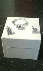 Search For Flights Cz Engagement Ring & Earing Set 9/60/s Ina Pandora Pouch White Gold On S925 Jewelry & Watches