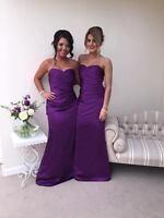 Cadbury Purple satin bridesmaid dress evening wedding formal plus size ballgown