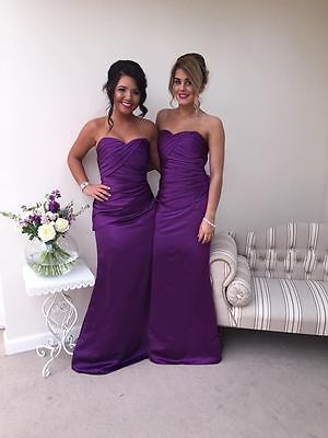 Cadbury Purple Satin Bridesmaid Dress Evening Wedding Formal Plus Size Ballgown Elegantes Und Robustes Paket