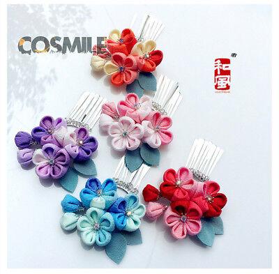 Blue Butterfly Hairpin Hair clip Tsumami zaiku for Hanfu Kimono Geisha Headwear
