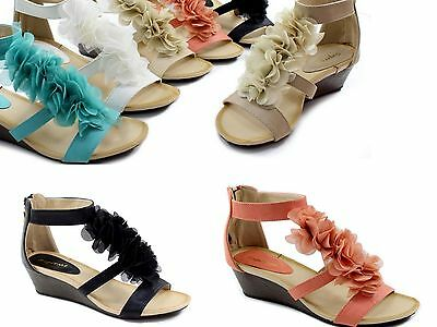 Diplomatisch Sandalen Sandaletten Wedges Keilabsatz Pantoletten Damen Pumps Blumen Sommer 39