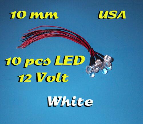 10 pcs LED 10mm WHITE PRE WIRED LEDS 12 VOLT 12V PREWIRED USA
