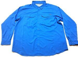 Columbia-Mens-Blue-Front-Pocket-Button-Front-Long-Sleeve-Shirt-Size-2XL