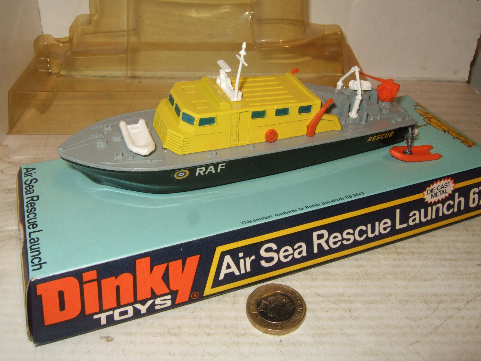 Dinky 678 Air sea Rescue Launch plus Dinghy & Man in original Dinky Blister.